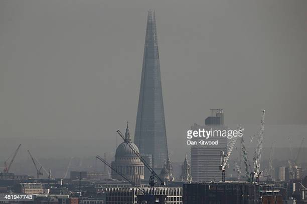 A general view of the Shard and St Paul's Cathedral from Hampstead Heath on April 1 2014 in London England Several high profile campaigners including...