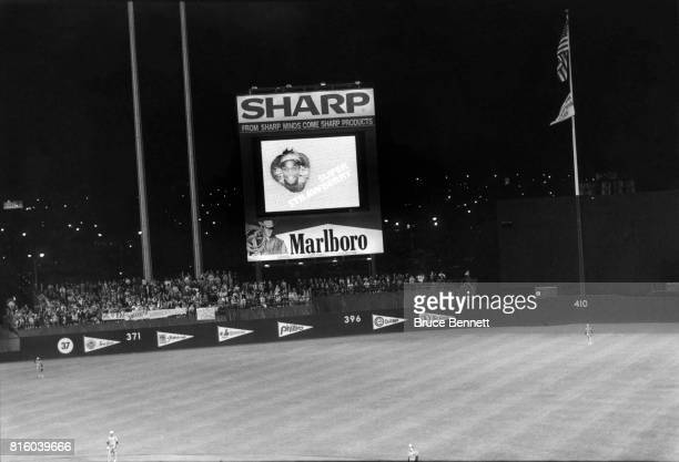 General view of the Sharp jumbotron during an MLB game with the Montreal Expos and New York Mets circa 1985 at Shea Stadium in Flushing New York