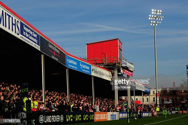 A general view of the 'Shed Side' before the LV=Cup match between Gloucester and Cardiff Blues at Kingsholm Stadium on January 28 2012 in Gloucester...