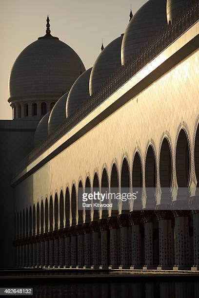A general view of the Sheikh Zayed Grand Mosque on February 1 2015 in Abu Dhabi United Arab Emirates Abu Dhabi's Sheikh Zayed Grand Mosque was built...
