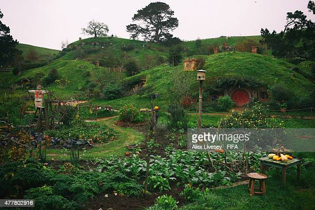 A general view of the Shire is seen at the Hobbiton Movie Set where Lord of the Rings and The Hobbit trilogies were filmed during the FIFA U20 World...