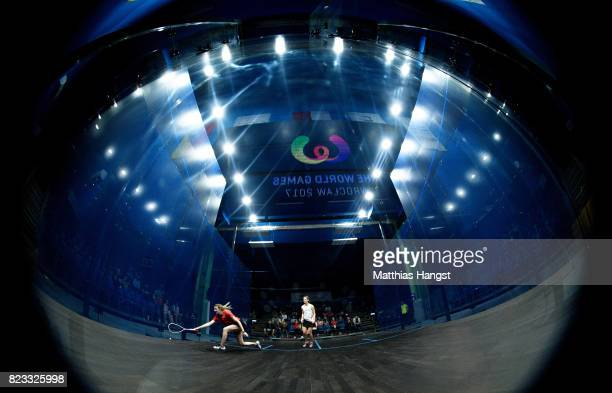A general view of the showcourt during the match of Millie Tomlinson of Great Britain playing against Celine Walser of Switzerland during the Squash...