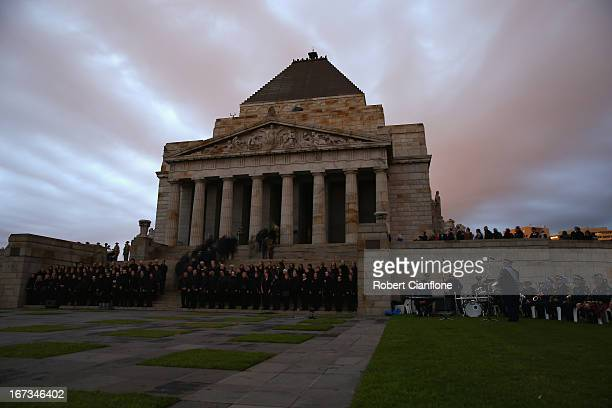 A general view of the Shrine of Rememberence during the dawn service on April 25 2013 in Melbourne Australia Veterans dignitaries and members of the...