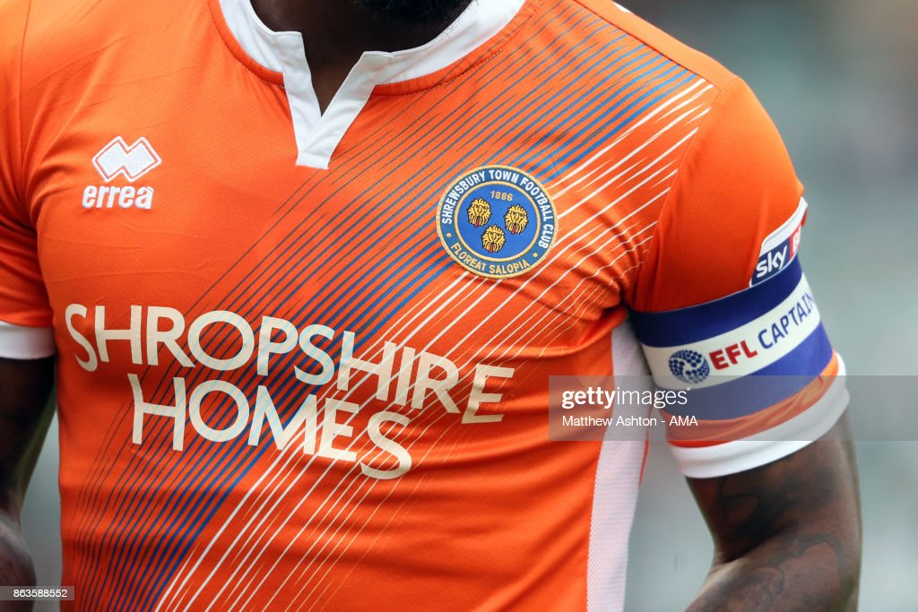 A general view of the Shropshire Homes shirt sponsor on Shrewsbury Town away kit during the Sky Bet League One match between Plymouth Argyle and Shrewsbury Town at Home Park on October 14, 2017 in Plymouth, England. (Photo by Matthew Ashton - AMA/Getty Images