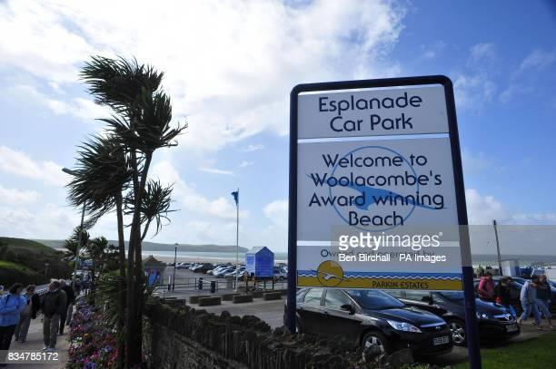 STANDALONE A general view of the sign at the car park entrance of Woolacombe beach North Devon