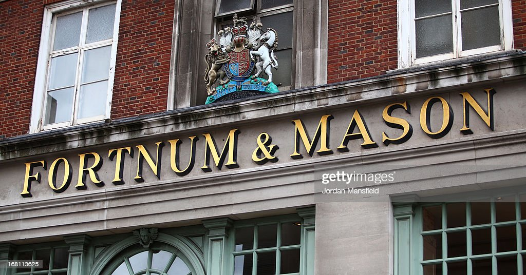 A general view of the sign at the rear entrance of Fortnum and Mason on May 5, 2013 in London, England. Fortnum and Mason have kept bees on their rooftop terrace for the last 7 years. At this time of year, the London Honey Company return the bees to their renovated hives.