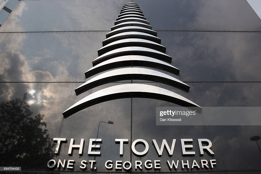 A general view of the sign at The Tower, St George Wharf in Vauxhall on May 27, 2016 in London, England. Around two-thirds of the luxury flats in the St George Wharf Tower, which was completed in 2014 and is 50 storeys high, are thought to be in foreign ownership with many left vacant.