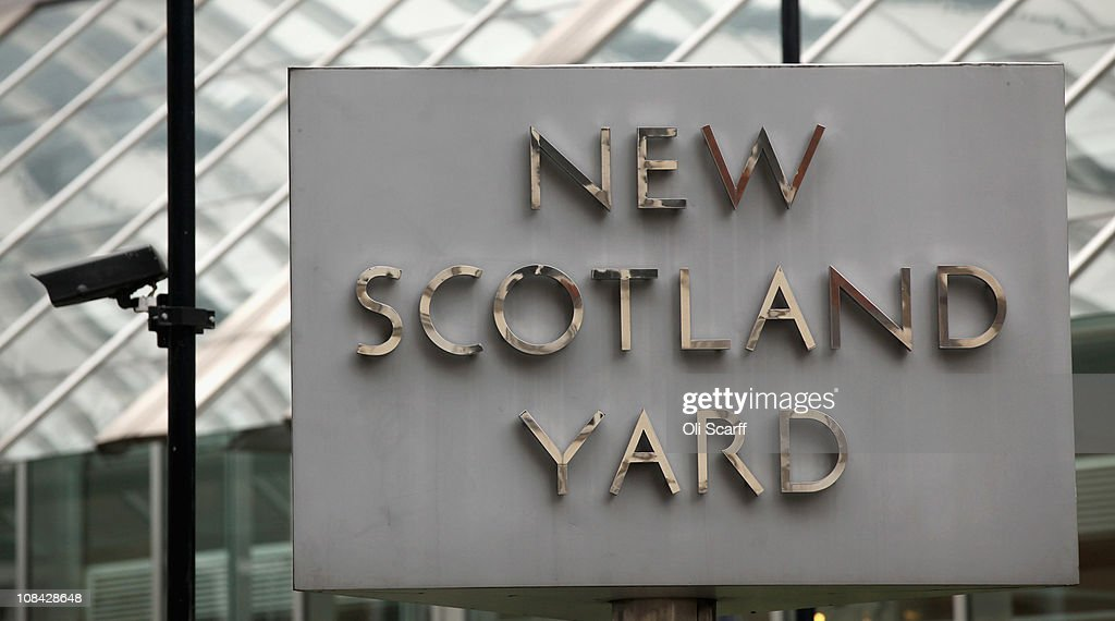 General view of the sign for the New Scotland Yard building in Victoria on January 27 2011 in London England The Metropolitan Police have reopened...