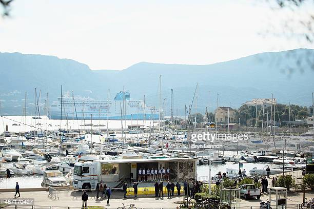 A general view of the sign in podium prior to stage one of the Criterium International from Porto Vecchio to Porto Vecchio on March 29 2014 in Porto...