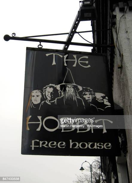 A general view of the sign outside a theme pub called The Hobbit in Southampton which is in a legal battle with a big Hollywood producer who is...