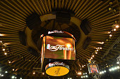 A general view of the signage on the jumbotron during media availability as part of the 2015 NBA Finals on June 5 2015 at Oracle Arena in Oakland...