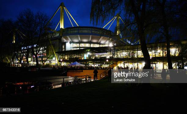 A general view of the Signal Iduna Park after the match between Borussia Dortmund and AS Monaco was cancelled after the team bus of the Borussia...