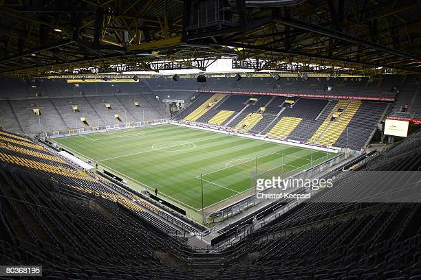 General view of the Signal Iduna Park before the Bundesliga match between Borussia Dortmund and Karlsruher SC at the Signal Iduna Park on March 22...