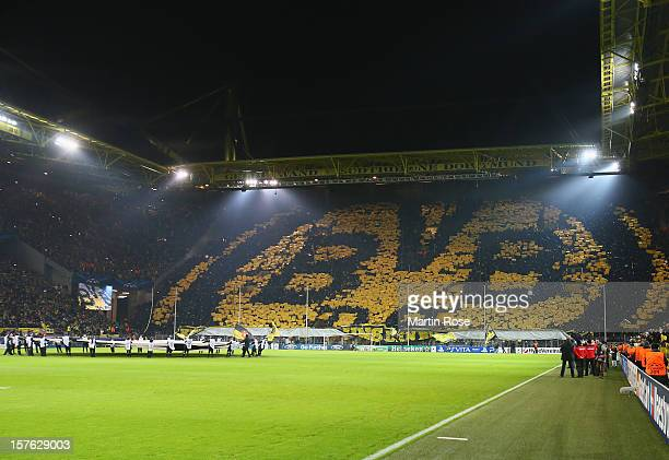 A general view of the Signal Iduna Park before the UEFA Champions League group D match between Borussia Dortmund and Manchester City at Signal Iduna...
