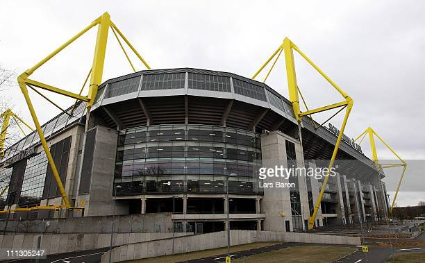 A general view of the Signal Iduna Park on March 31 2011 in Dortmund Germany A 25 year old man has been arrested by police following anonymous...