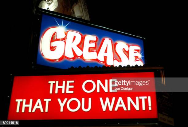 General view of the signs outside of Max Crumm and Laura Osnes final performance in 'Grease' on Broadway at the Brooks Atkinson Theatre on July 20...