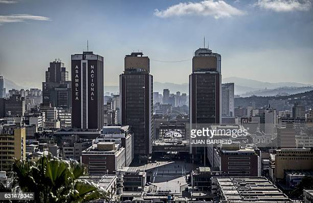 General view of the Simon Bolivar Centre and the Administrative building of Venezuela's National Assembly in Caracas on January 11 2017 / AFP / JUAN...
