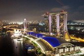 A general view of the Singapore Flyer and Marina Bay Sands casino on February 7 2012 in Singapore Singapore had a record 132 million visitors last...