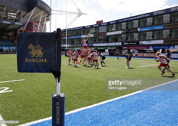 A general view of the Singha branding around the ground during the Singha Premiership Rugby 7's Series Cardiff match at Cardiff Arms Park on August...