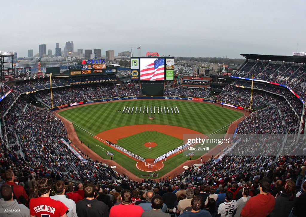 A general view of the singing of the national anthem before the game between the Atlanta Braves and the Pittsburgh Pirates at Turner Field March 31...