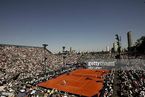 A general view of the singles final between Carlos Moya of Spain and Filippo Volandri of Italy during the Copa Telmex ATP Buenos Aires February 19...