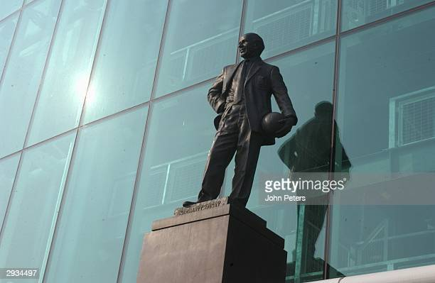 A general view of The Sir Matt Busby Statute in front of the The East Stand at Old Trafford home of Manchester United