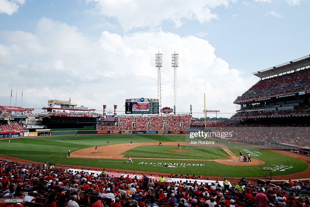 A general view of the SiriusXM AllStar Futures Game between the World Team and the US Team at the Great American Ball Park on July 12 2015 in...