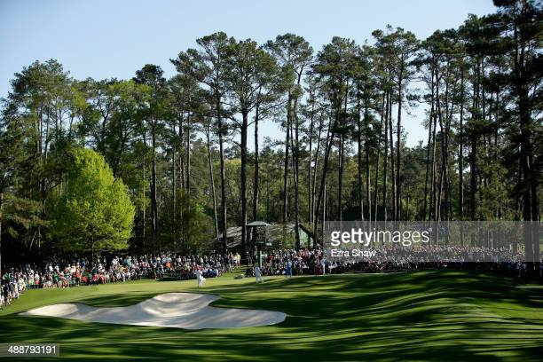 A general view of the sixth hole during the first round of the 2014 Masters Tournament at Augusta National Golf Club on April 10 2014 in Augusta...