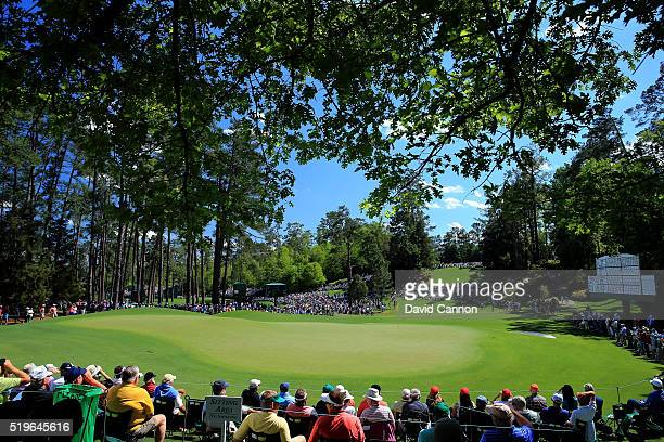 A general view of the sixth hole during the first round of the 2016 Masters Tournament at Augusta National Golf Club on April 7 2016 in Augusta...
