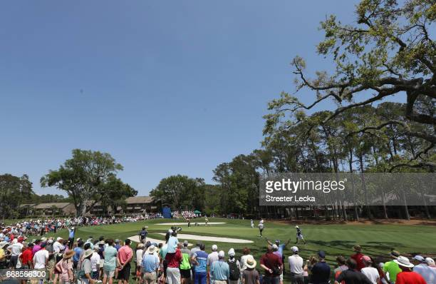 A general view of the sixth hole with the group of Matt Kuchar Martin Kaymer of Germany and Russell Henley during the second round of the 2017 RBC...