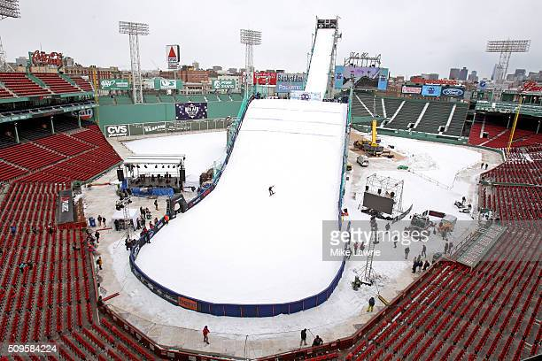 A general view of the ski and snowboard ramp during Polartec Big Air Day 1 at Fenway Park on February 11 2016 in Boston Massachusetts
