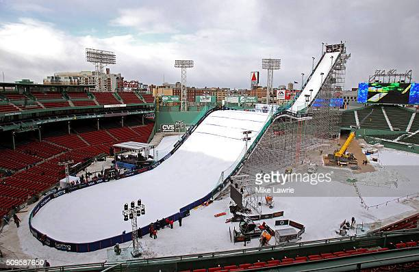 A general view of the ski and snowboard ramp during Polartec Big Air Day 1 practic at Fenway Park on February 11 2016 in Boston Massachusetts