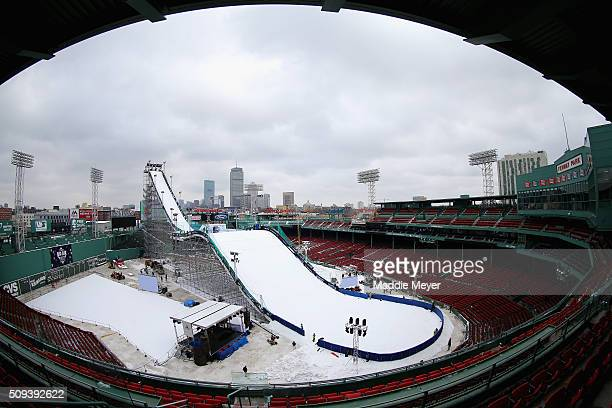 A general view of the ski and snowboarding ramp at Fenway Park ahead of the Polartec Big Air at Fenway Event on February 10 2016 in Boston...