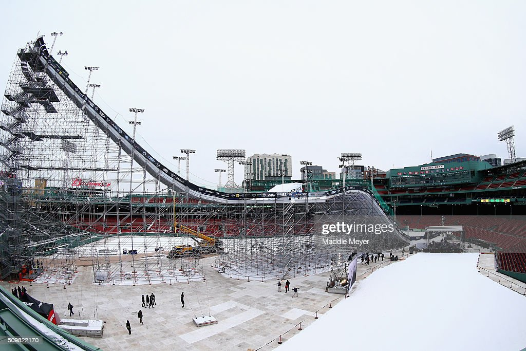 A general view of the ski and snowboarding ramp during Polartec Big Air at Fenway Day 2 at Fenway Park on February 12, 2016 in Boston, Massachusetts.