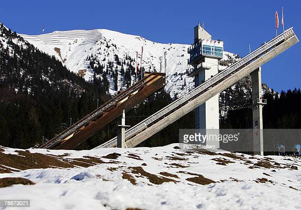 A general view of the ski jump during the first round of the FIS Ski Jumping World Cup event at the 56th Four Hills Ski Jumping Tournament on...