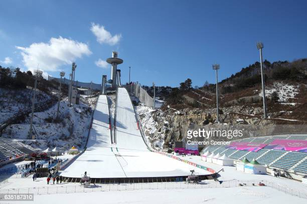 A general view of the Ski Jump prior to the 2017 FIS Ski Jumping World Cup test event For PyeongChang 2018 at Alpensia Ski Jumping Center on February...