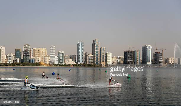 A general view of the Ski Ladies GP1 final during the Aquabike Class Pro Circuit World Championships Grand Prix of Sharjah at Khalid Lagoon on...