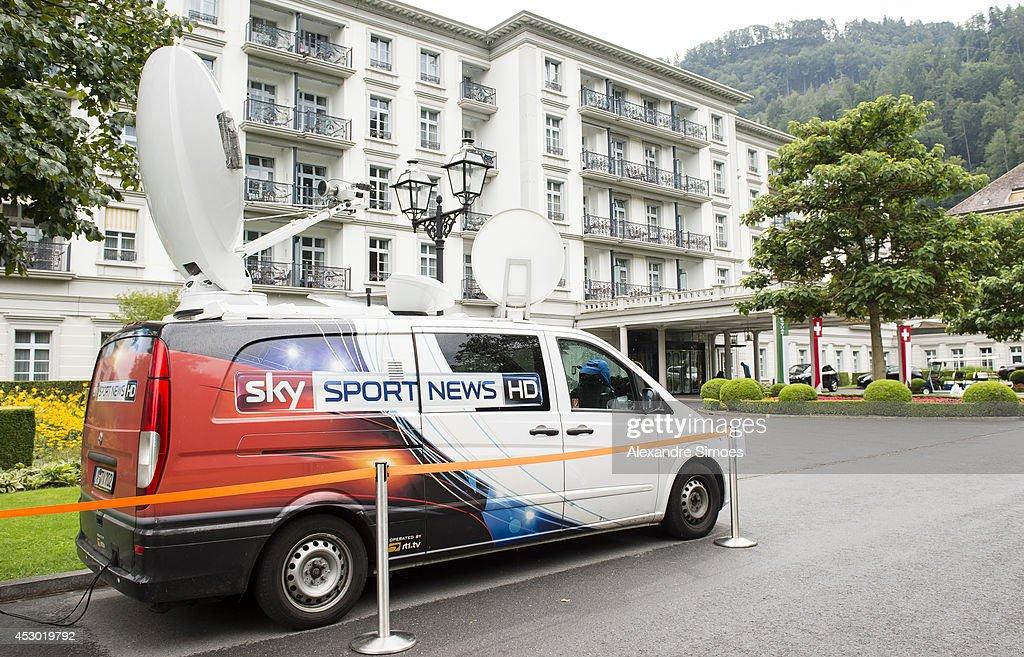 A general view of the SKY Sport News van on August 1, 2014 in Bad Ragaz, Switzerland.