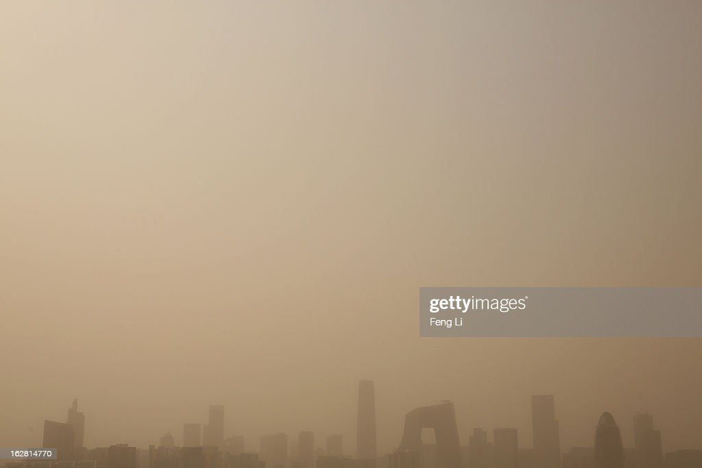 A general view of the skyline in the sandstorm on February 28, 2013 in Beijing, China. Beijing was hit by its first sandstorm of the year while its air quality reached dangerous level on Thursday.