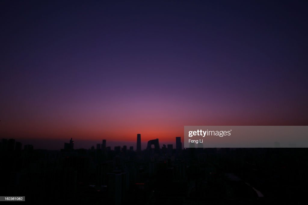 A general view of the skyline of central business district after sunset on February 22, 2013 in Beijing, China.