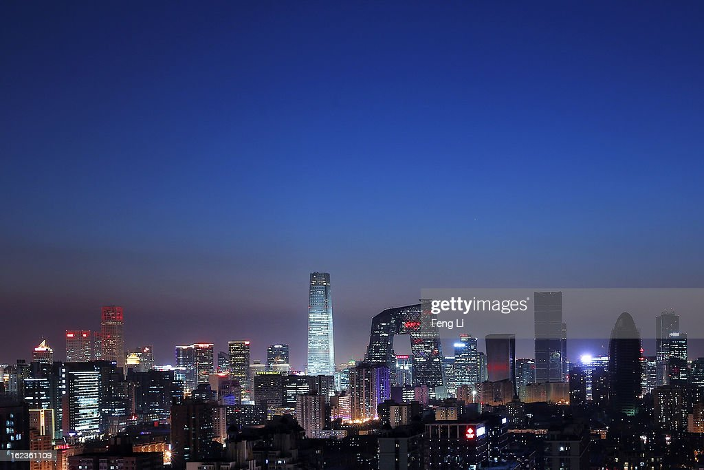 A general view of the skyline of central business district after sunset on February 22 2013 in Beijing China
