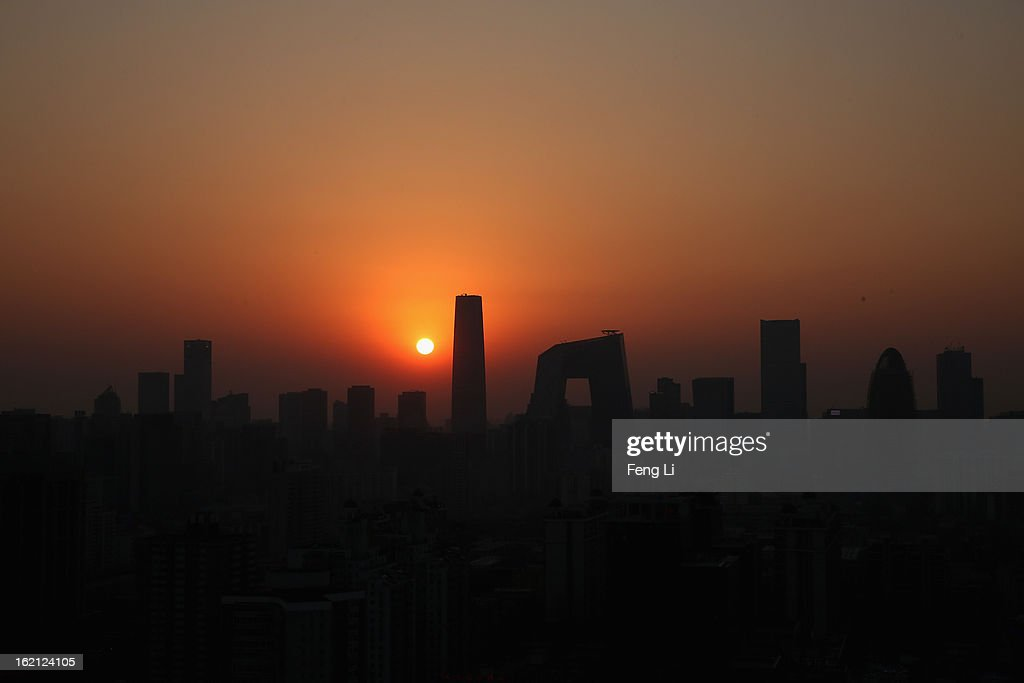 A general view of the skyline of central business district during sunset on February 19, 2013 in Beijing, China. Large amounts of organic nitrogen compounds were found in Beijing smog in January, the worst month in recent years. Most alarming is that the Chinese Academy of Sciences says they've found organic nitrogen particles, a key component in the deadly photochemical smog in Los Angeles in the 1950s and the Great Smog in London.
