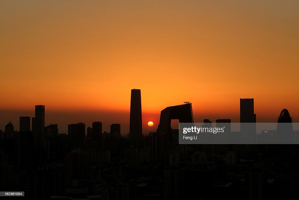 A general view of the skyline of central business district during sunset on February 22, 2013 in Beijing, China.