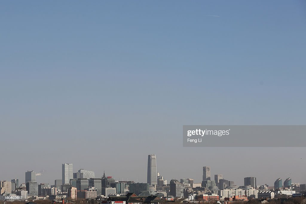 A general view of the skyline of central business district on February 6, 2013 in Beijing, China.