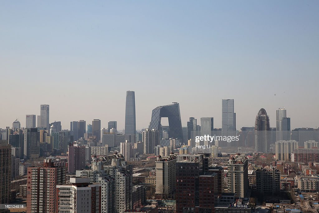 A general view of the skyline of central business district on February 19 2013 in Beijing China Large amounts of organic nitrogen compounds were...