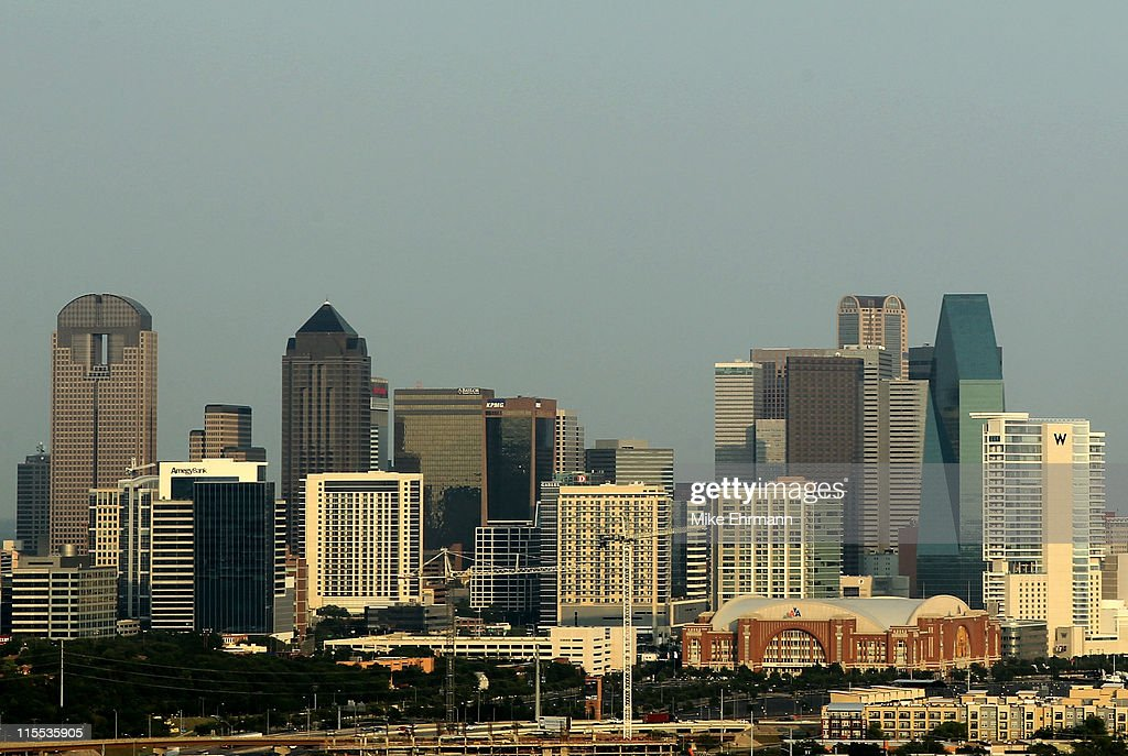 A general view of the skyline of downtown Dallas Texas as the American Airlines Center can be seen before Game Four of the 2011 NBA Finals on June 7...