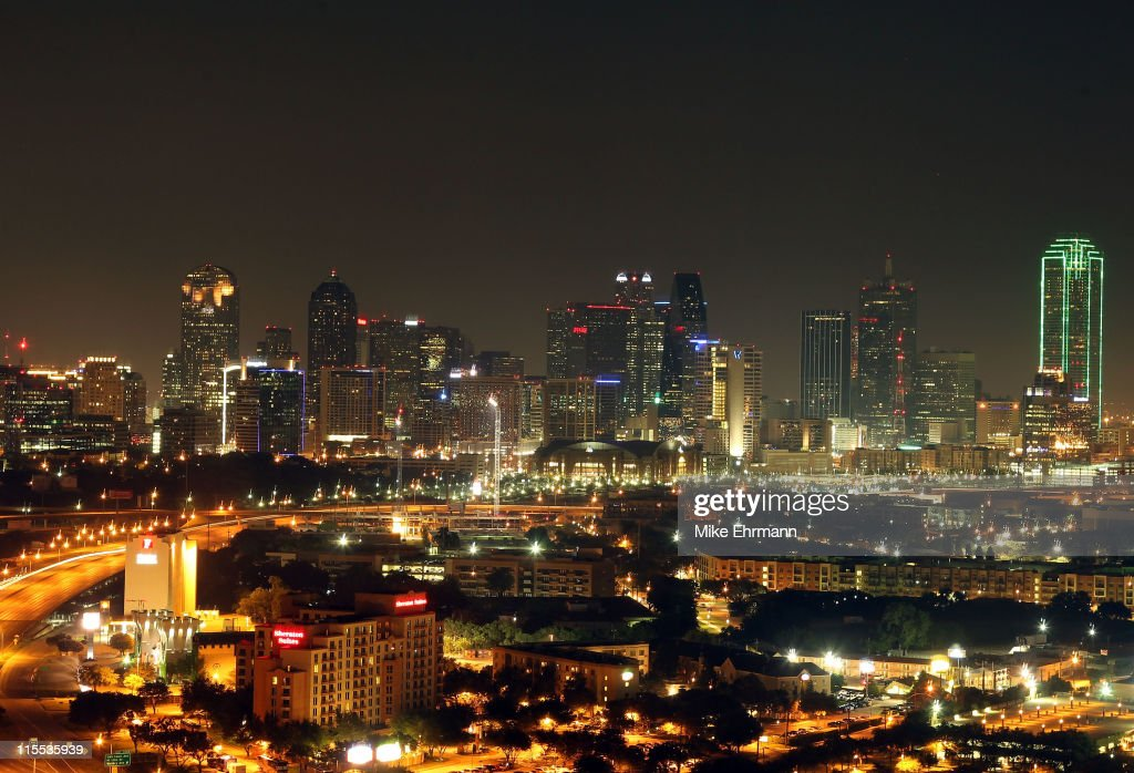 A general view of the skyline of downtown Dallas Texas as the American Airlines Center can be seen the night before Game Four of the 2011 NBA Finals...