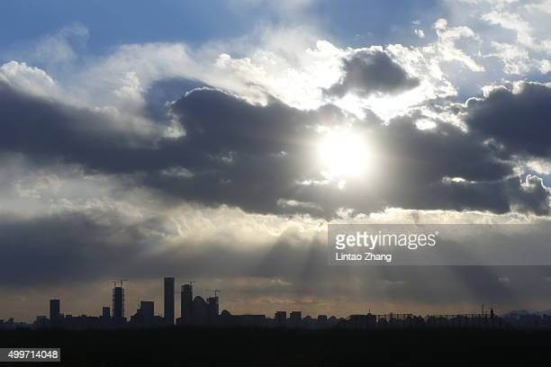 A general view of the skyline of the central business district during sunset on December 2 2015 in Beijing China After several days of continued...