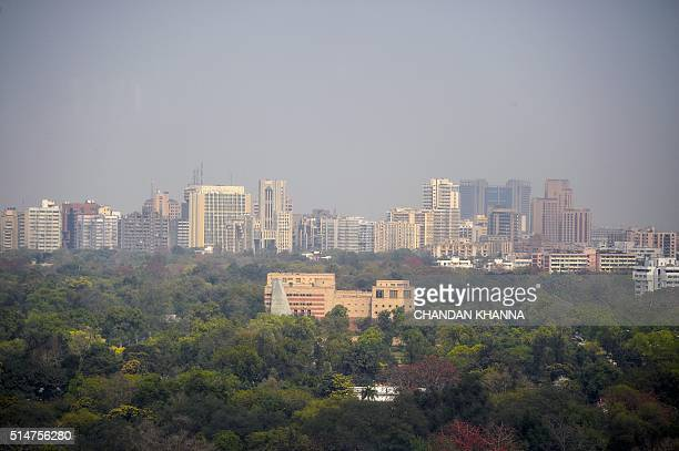 A general view of the skyline of the Indian capital New Delhi on March 11 2016 / AFP / Chandan KHANNA