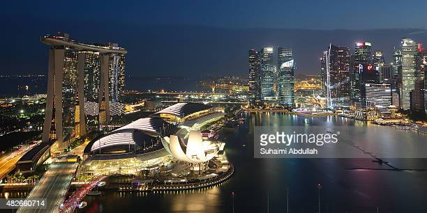 A general view of the skyline of the Singapore Central Business District the Marina Bay Sands and the ArtScience Museum on August 1 2015 in Singapore